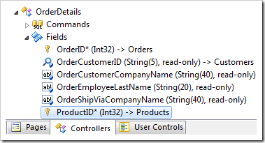 ProductID field of Order Details controller.