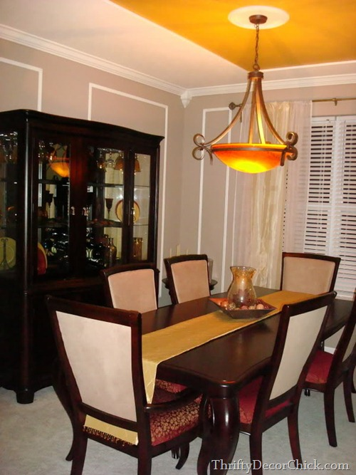 gold and red dining room