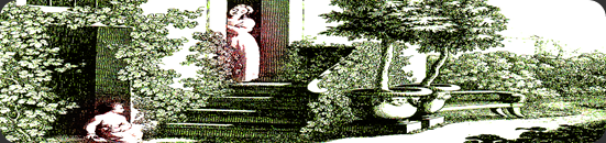 Jardim da casa de Goethe Christiane Vulpius e August por Carl Lieber de acordo com um esboço de Goethe [1793]
