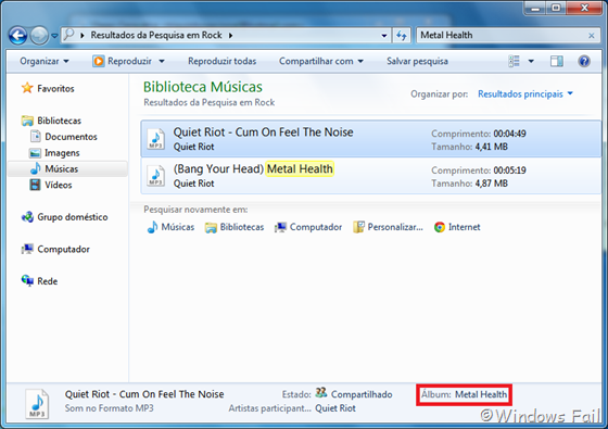 Windows Explorer acha mais facilmente músicas contendo tags ID3