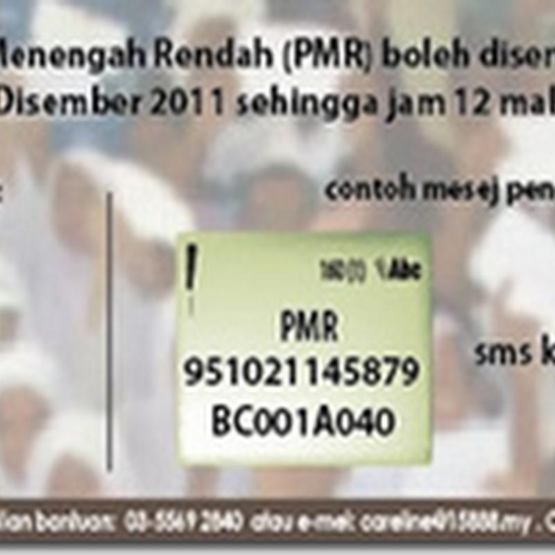 Semak keputusan Penilaian Menengah Rendah @ PMR 2011 melalui sms online
