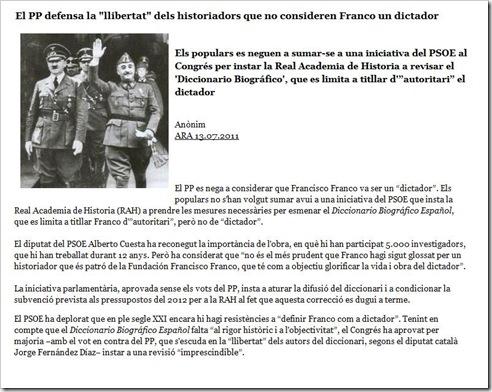segon lo PP Franco es pas dictador