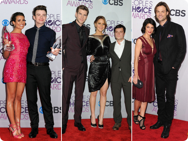 lindos, premio, trofeu, pca 2013, peoples choice awards, red carpet, hunger games, liam hemsworth, josh hunterson, jared, supernatural, glee, lea michele, chris colfer