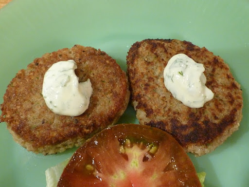 Golden brown and crispy on the outside-creamy within. Serve topped with mayo, on a bun, or not, with tomato and a little lettuce.