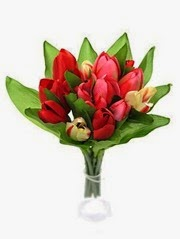 Bunch of Silk Red and Cream Tulips in a bouquet. Mothers Day