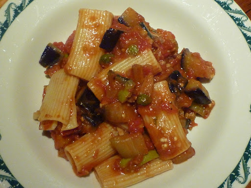Rigatoni with Spicy Eggplant and Shallot Sauce.
