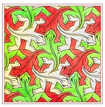 Disegno simmetrico Escher rane