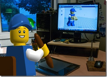Preview of blue lego guy at work