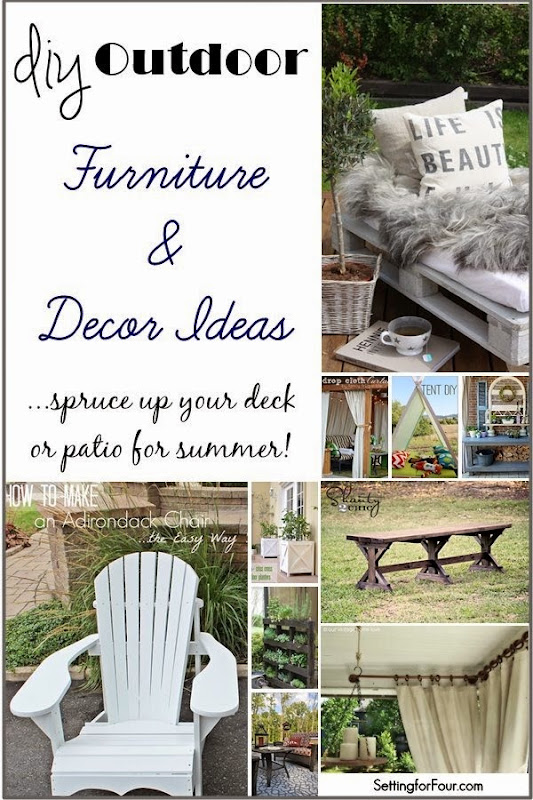 DIY outdoor furniture and decor ideas. Spruce up your deck or patio for summer!