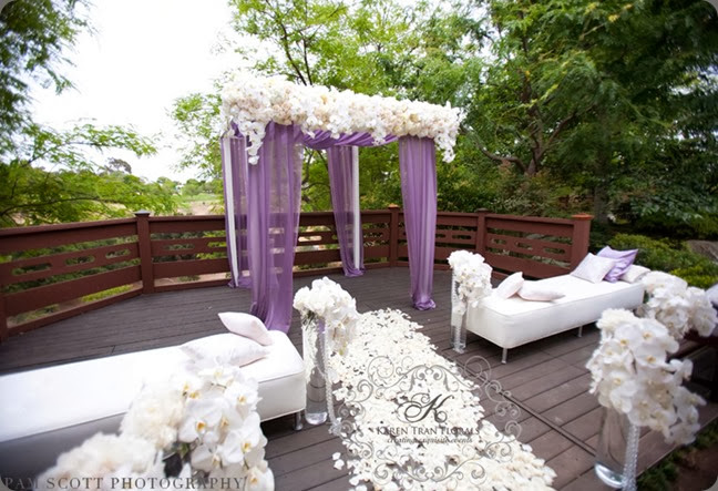 intimate ceremony site white-purple-canopy-ceremony-benches-karen-tran1 karen tran