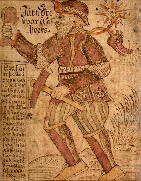 Thor con su martillo Mjolnir y su cinturón de fuerza Megingjörð en un manuscrito islandés del siglo XVIII
