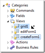 Dragging createForm1 view node to the right side of grid1 view in the Project Explorer.