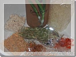 Bihuhn Suppe Feuer und Glas
