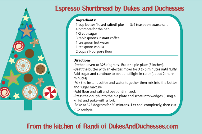 Espresso Shortbread Cookie Exchange Recipe by Dukes and Duchesses