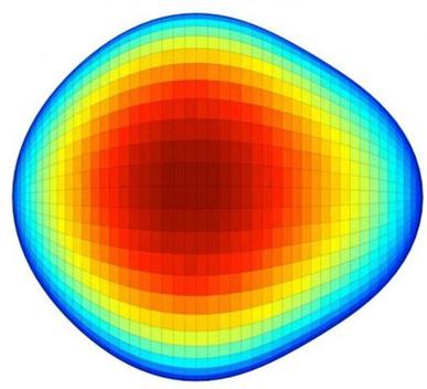 núcleo de um isótopo de rádio-224 em formato de pera