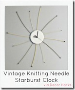 Vintage Knitting Needle Starburst Clock