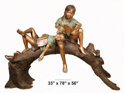Bronze Statuary, Two Kids Laying on Tree Branch Reading Books.