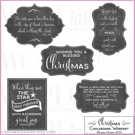 Christmas Chalkboard Wordart