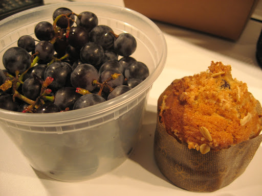 Jennifer brought us delicious chocolate chip muffins and a fantastic discovery for people who like to make Concord grape pie: seedless Concord grapes!  I cannot tell you how much time they will save you.