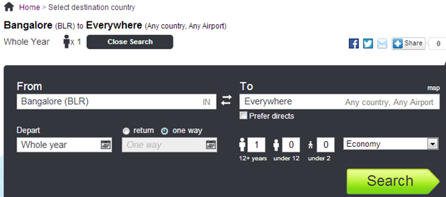Skyscanne tool for flight search