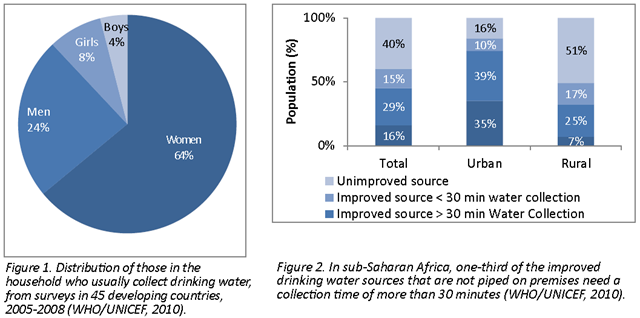 Distribution of those in the household who usually collect drinking water, from surveys in 45 developing countries, 2005-2008 (WHO/UNICEF, 2010). Figure 2. In sub-Saharan Africa, one-third of the improved drinking water sources that are not piped on premises need a collection time of more than 30 minutes (WHO/UNICEF, 2010). InterAction Council, 2012