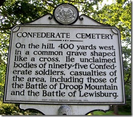 Confederate Cemetery marker in Lewisburg, WV - Greenbrier County