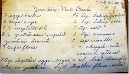 Zucchini Bread Aunt Ruth 1