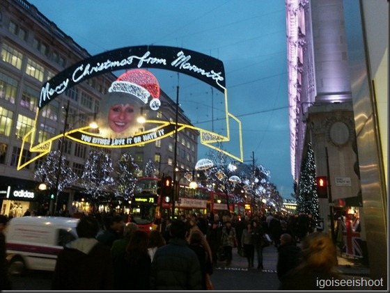 Christmas lightings along Oxford Street London