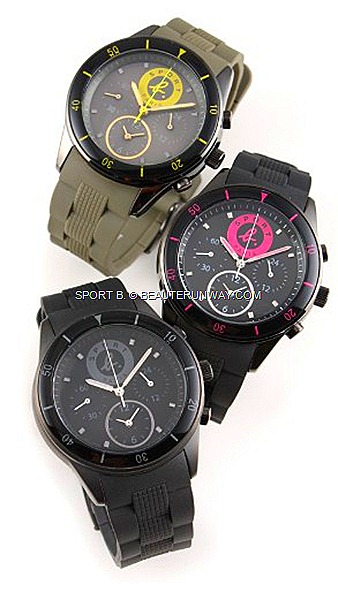 SPORT B WATCHES AGNES B FOR SPRING SUMMER 2012  COLLECTION logos in grey, shocking pink  yellow colours harmonize with the rubber watchstraps in steel band pattern.