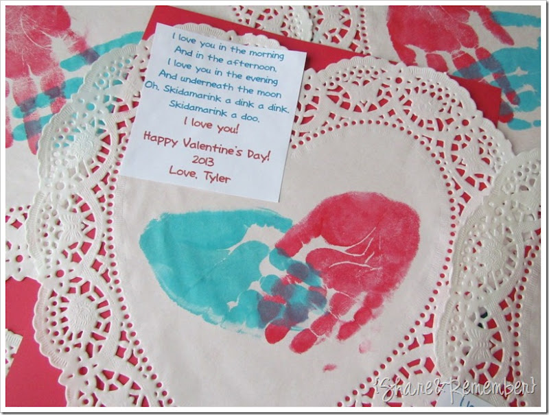 handprint heart valentines