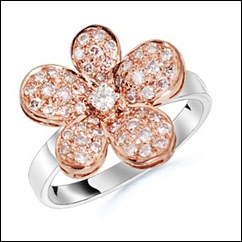 Round Diamond Flower Ring in 18k White Gold