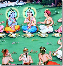 Lord Krishna and friends in Vrindavana