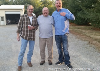 Tim Hurley, Jerry Hurley and Dan Nelson enjoy visiting.