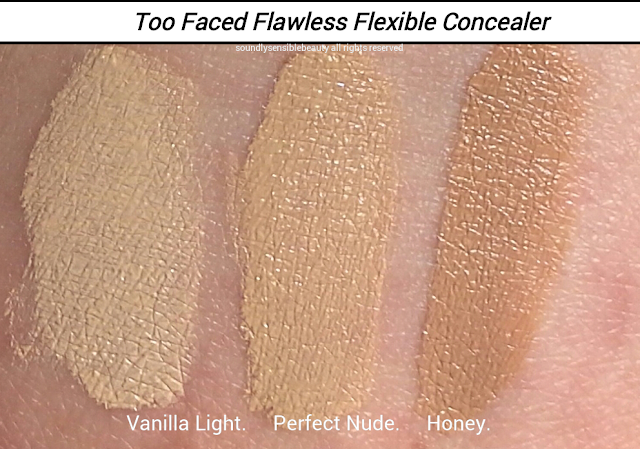 Too Faced Absolutely Flawless Concealer (Flexible Coverage) Review & Swatches of Shades  Vanilla Light, Perfect Nude, Honey