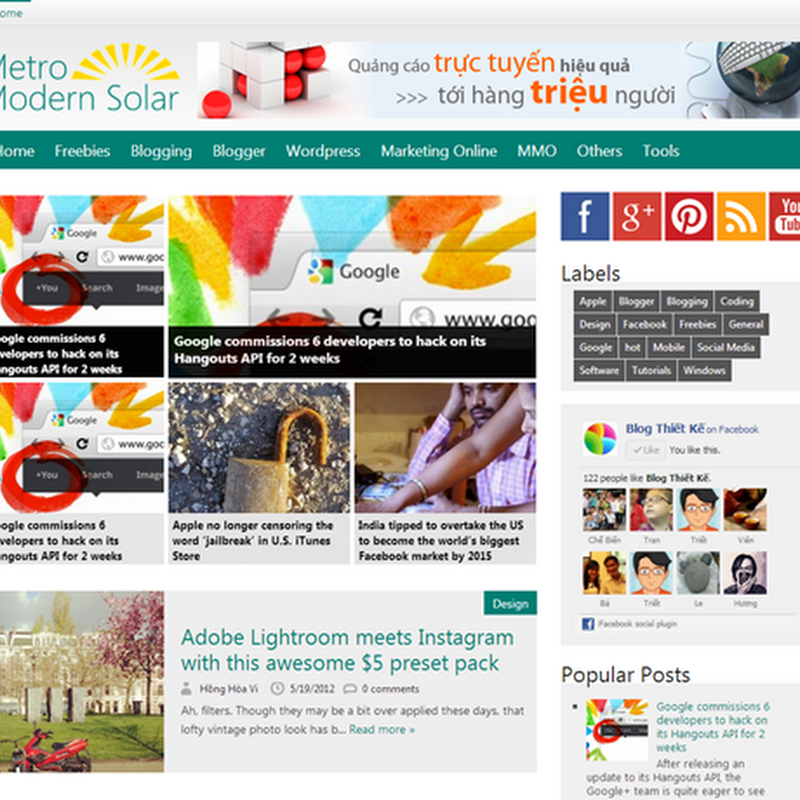 Premium Blogger Templates - Metro Modern Solar V.1