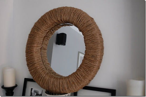 diy projects with jute--create a wall mirror with a wrapped jute frame