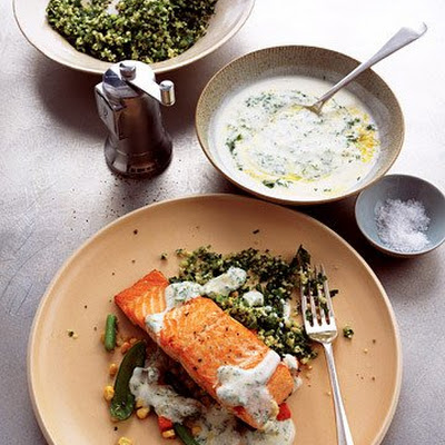 Pan-Seared Salmon with Lemon-Dill Yogurt Sauce