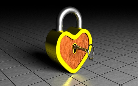 3d rendered gold silver wood heart lock