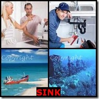 SINK- 4 Pics 1 Word Answers 3 Letters