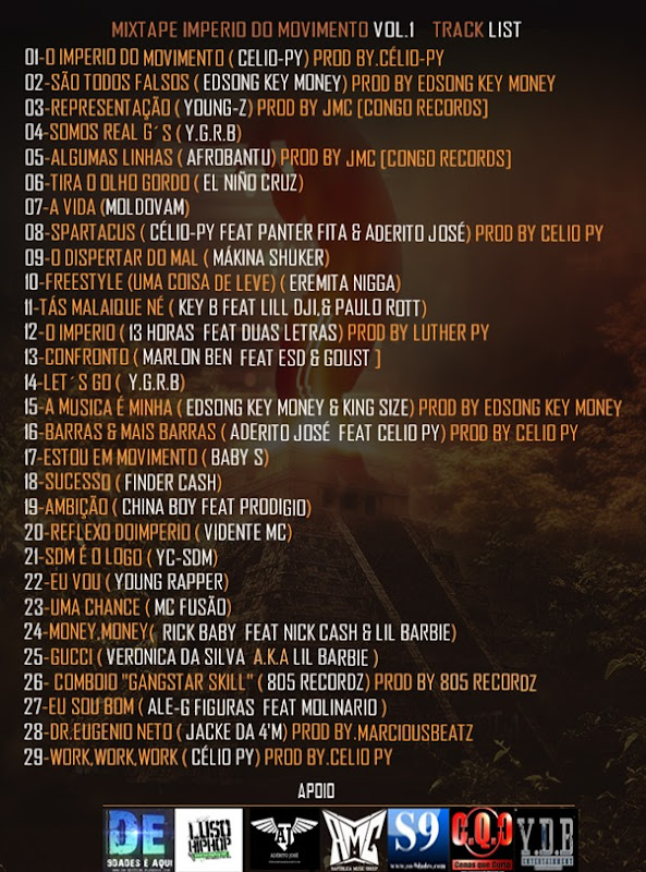 Track List -Mixtape- O Império Do Movimento Vol.1 ( Design By Dm-Edition)