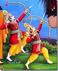 Lakshmana and Rama fighting Tataka