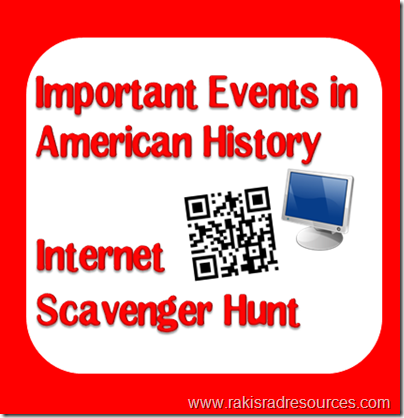 Complete a patriotic internet scavenger hunt to celebrate American holidays like the 4th of July, Memorial Day, Veteran's Day or Presidents' Day - Multiple versions available from Raki's Rad Resources.