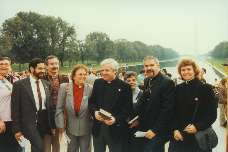 Reverends Troy Perry and Freda Smith (right) and other church leaders at the March on Washington. October 11, 1987.