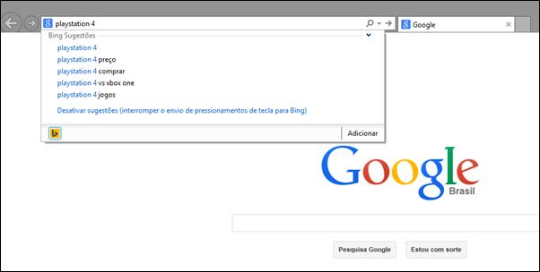 O Bing é o motor de busca padrão do Internet Explorer 11