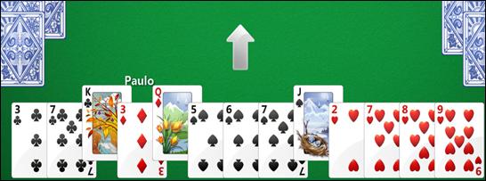 Passe 3 cartas para o jogador indicado (dica: passe as cartas mais altas)