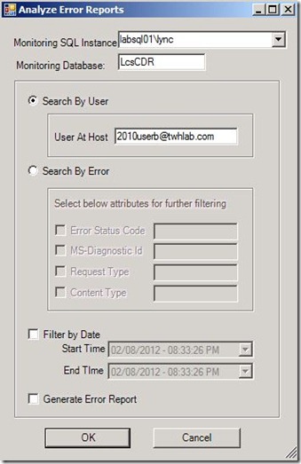 Lync - Snooper - Analyze error reports