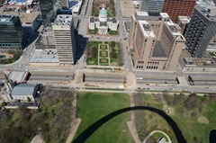 The Capitol Building with Gateway Arch shadow below!