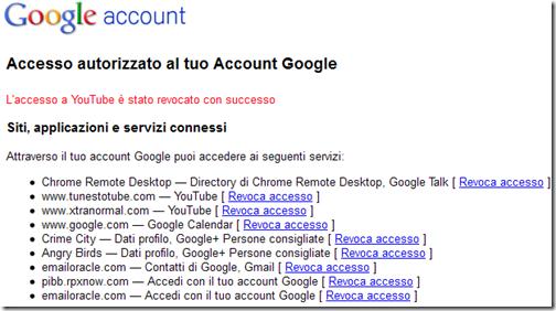 Accesso autorizzato al tuo account Google