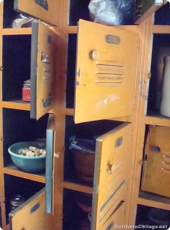 orange vintage lockers {Northern Cottage} - Copy