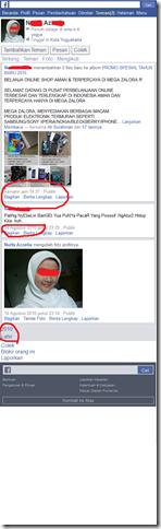 Akun facebook yang dibajak penipu jualan gadget olshop